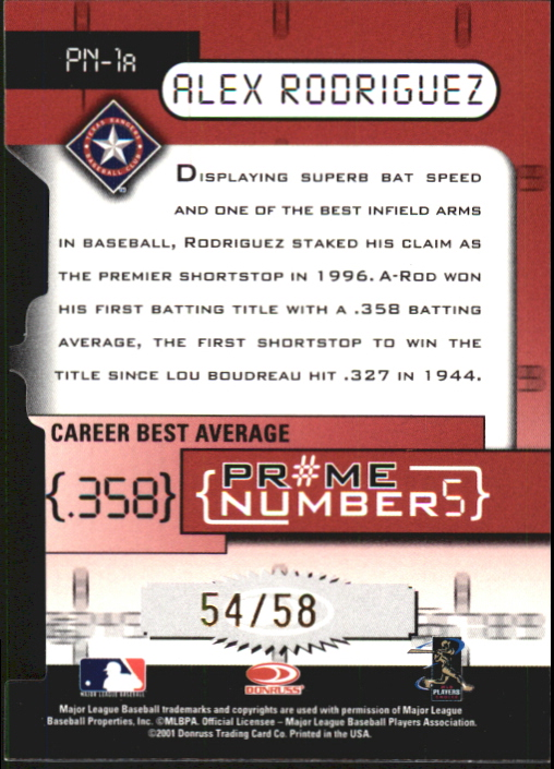 2001 Donruss Elite Prime Numbers Die Cuts #PN1A Alex Rodriguez/58 back image