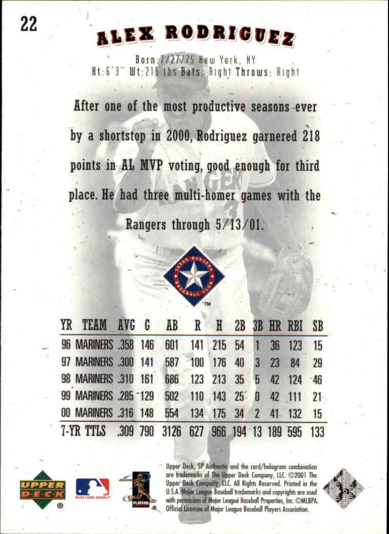 2001 SP Authentic #22 Alex Rodriguez back image