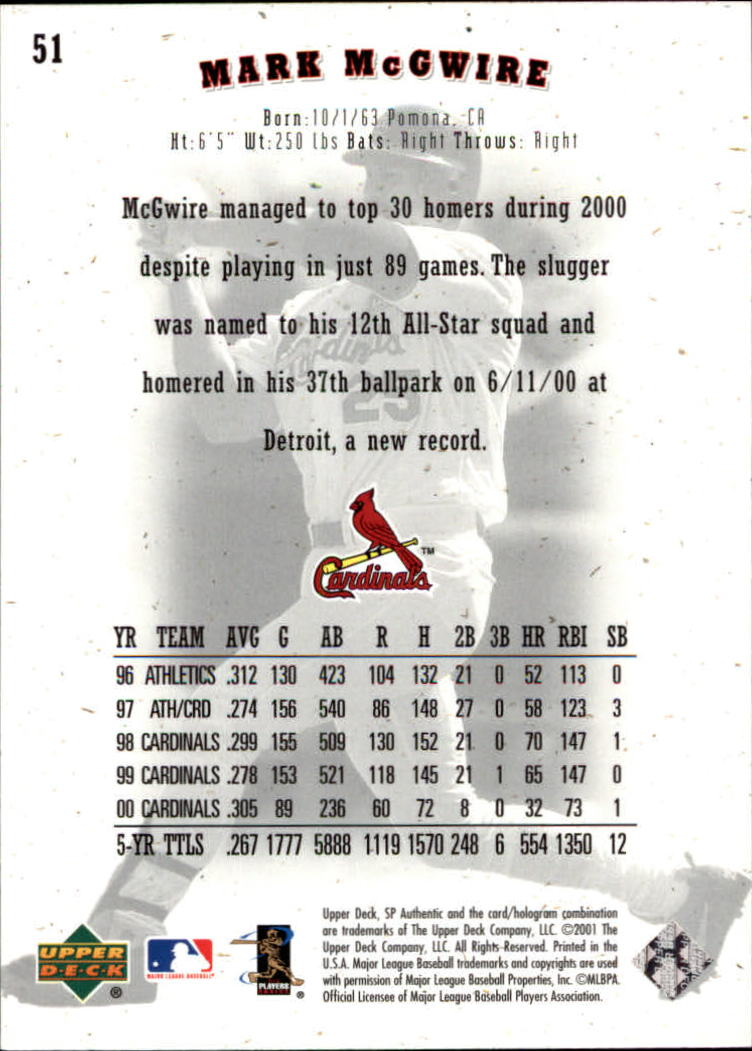 2001 SP Authentic #51 Mark McGwire back image