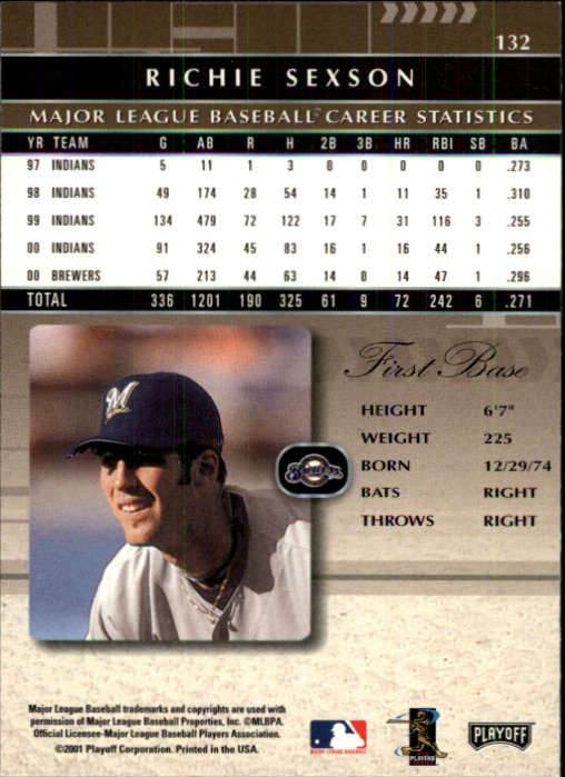 2001 Absolute Memorabilia #132 Richie Sexson back image