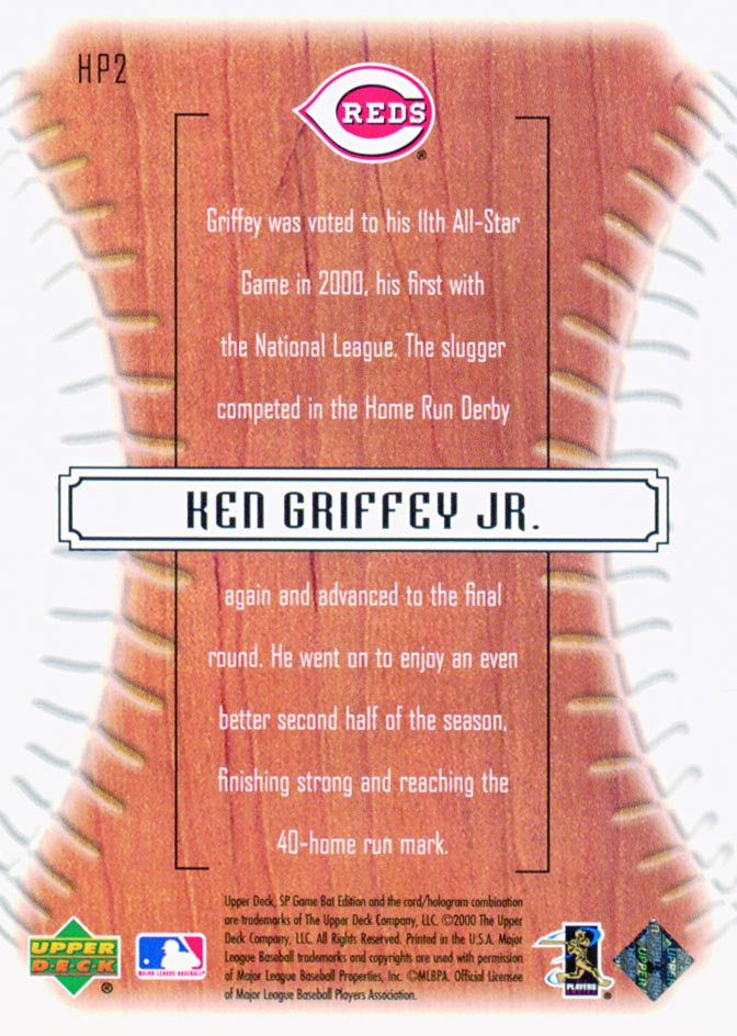 2001 SP Game Bat Edition Big League Hit Parade #HP2 Ken Griffey Jr. back image