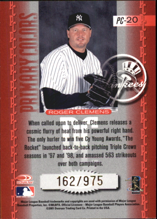 2001 Donruss Elite Primary Colors Red #PC20 Roger Clemens back image