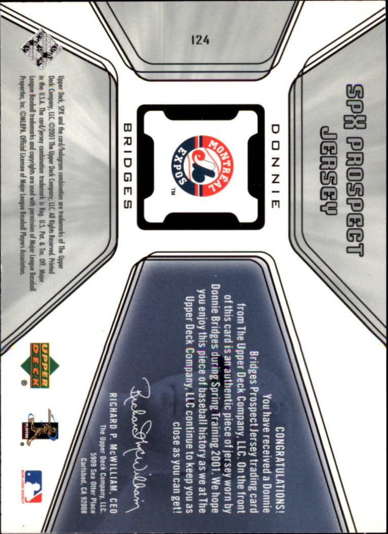 2001 SPx #124 Donnie Bridges JSY back image