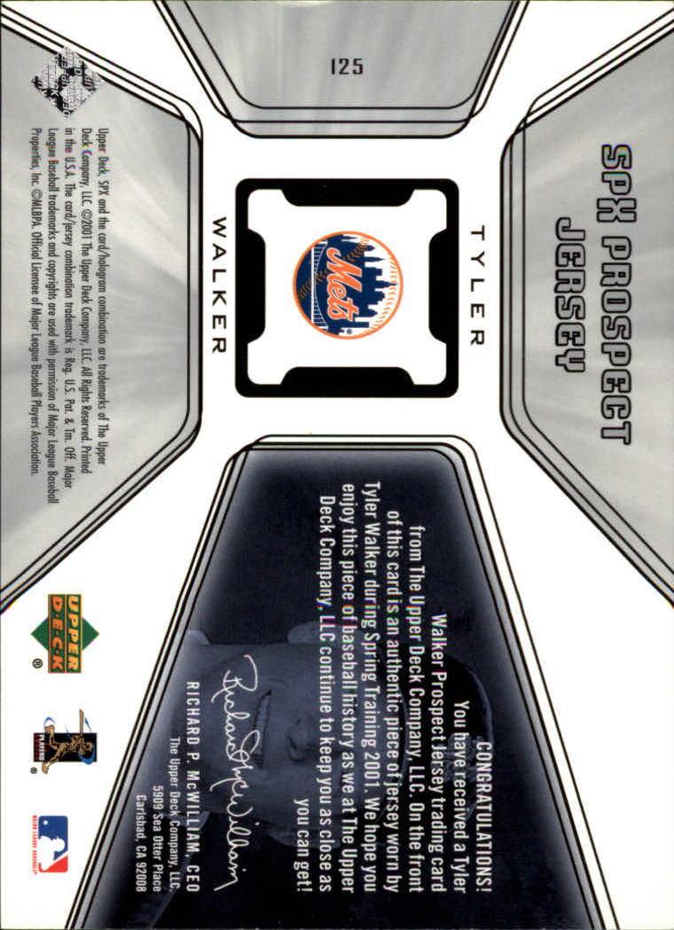 2001 SPx #125 Tyler Walker JSY RC back image