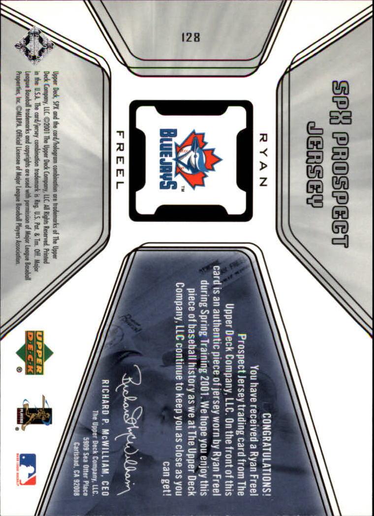 2001 SPx #128 Ryan Freel JSY RC back image
