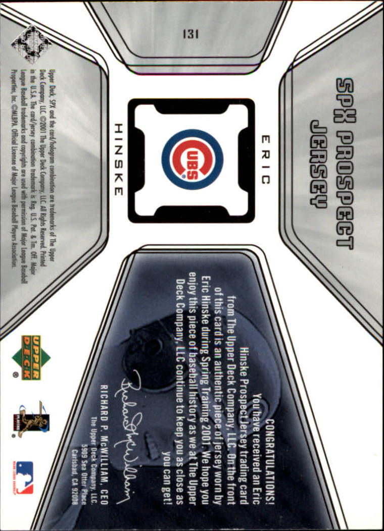 2001 SPx #131 Eric Hinske JSY RC back image