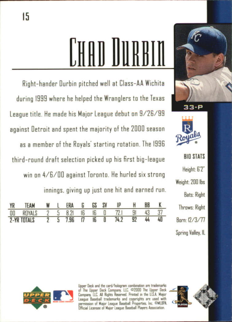 2001 Upper Deck #15 Chad Durbin SR back image