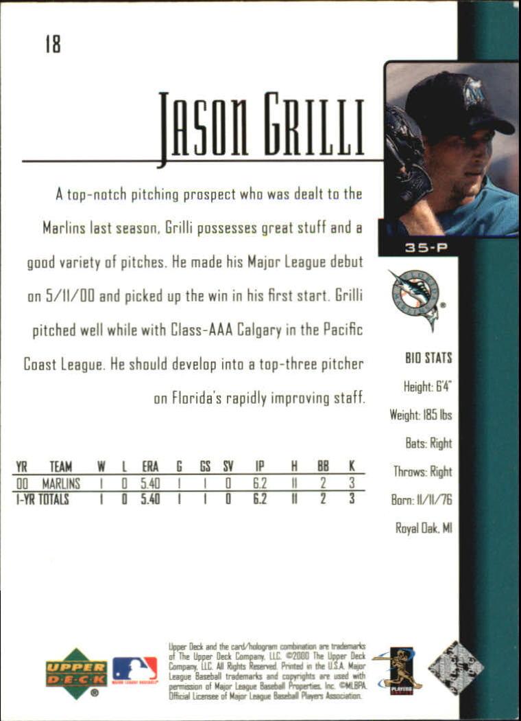 2001 Upper Deck #18 Jason Grilli SR back image