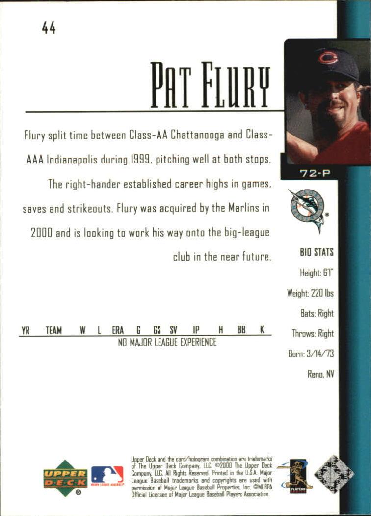 2001 Upper Deck #44 Pat Flury SR RC back image