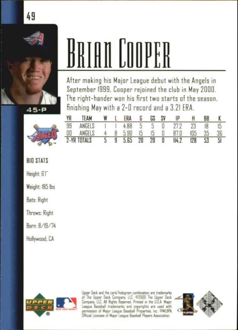 2001 Upper Deck #49 Brian Cooper back image