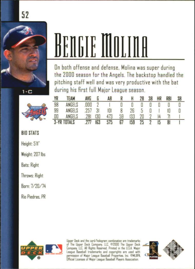 2001 Upper Deck #52 Bengie Molina back image