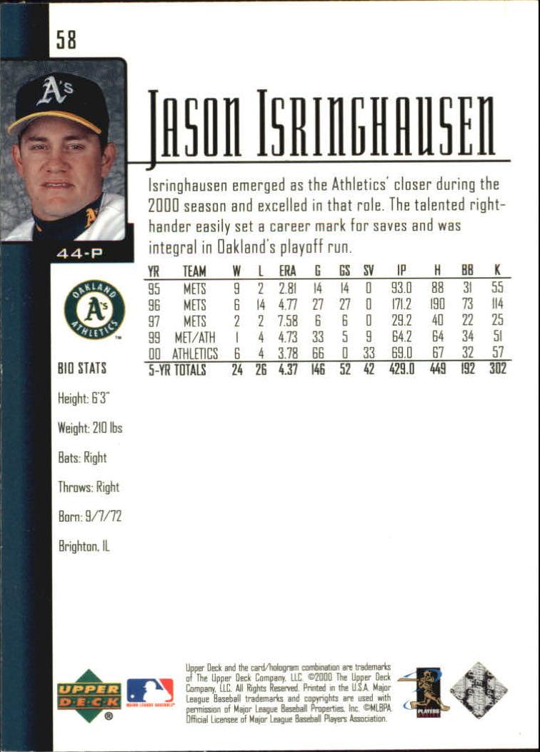2001 Upper Deck #58 Jason Isringhausen back image