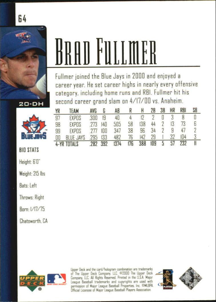 2001 Upper Deck #64 Brad Fullmer back image