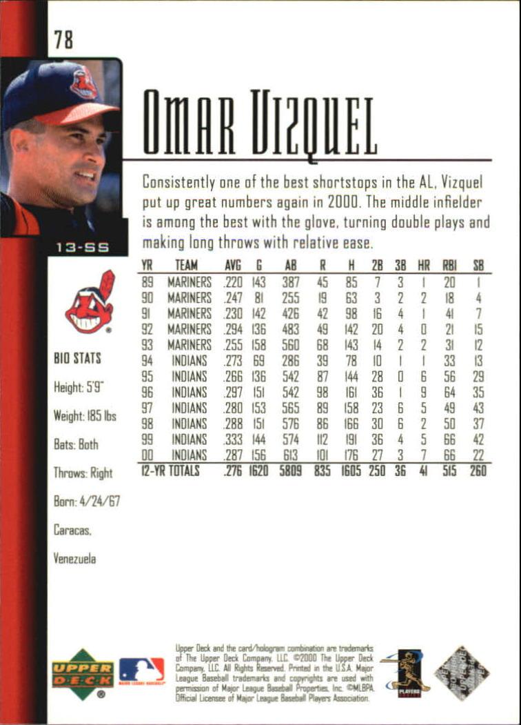 2001 Upper Deck #78 Omar Vizquel back image