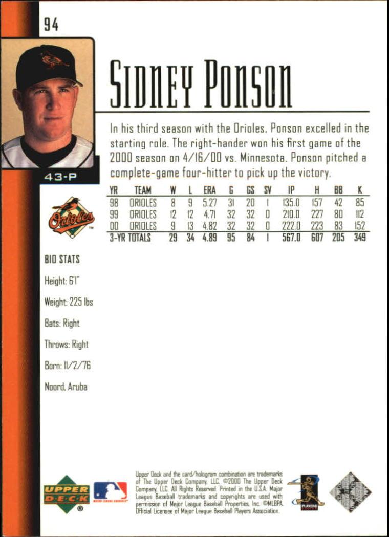 2001 Upper Deck #94 Sidney Ponson back image