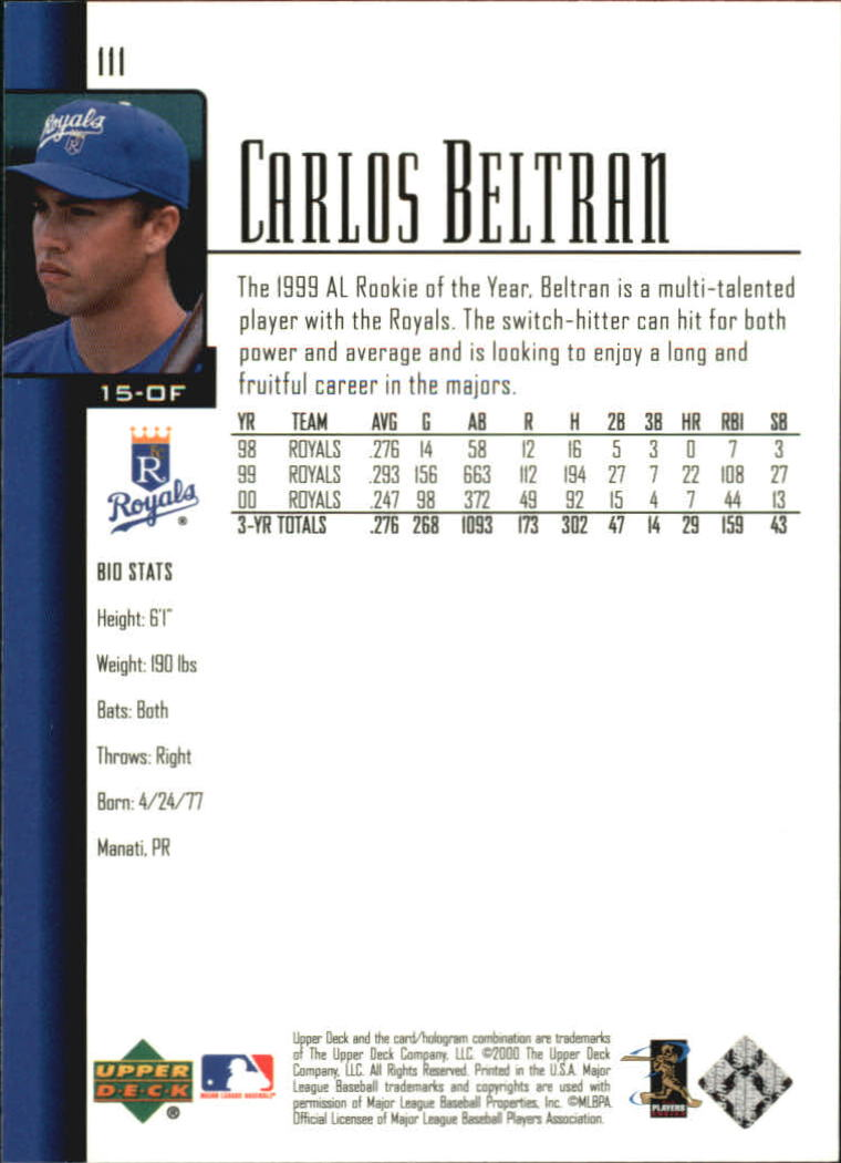 2001 Upper Deck #111 Carlos Beltran back image