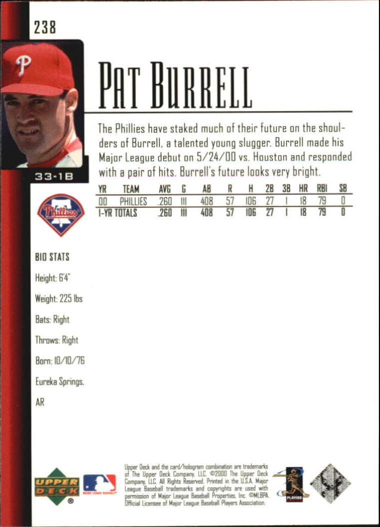 2001 Upper Deck #238 Pat Burrell back image