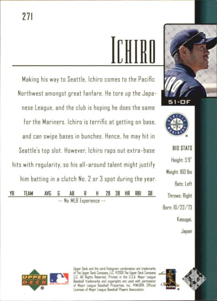 2001 Upper Deck #271 Ichiro Suzuki SR RC back image