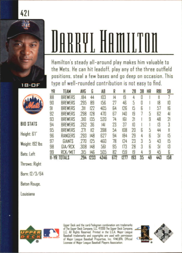 2001 Upper Deck #421 Darryl Hamilton back image