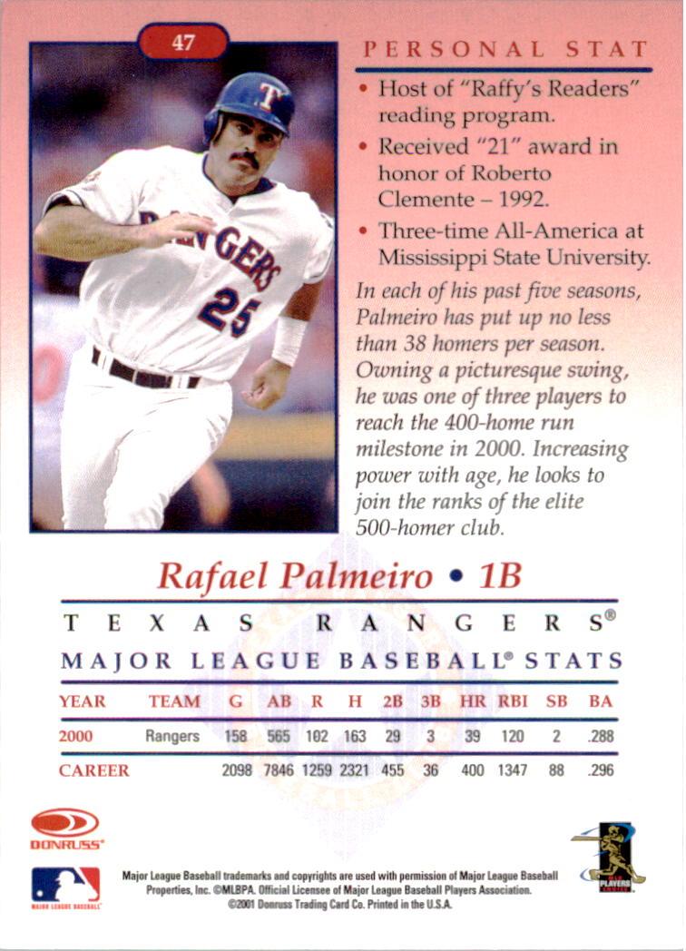 2001-02 Studio Chicago Collection #47 Rafael Palmeiro back image