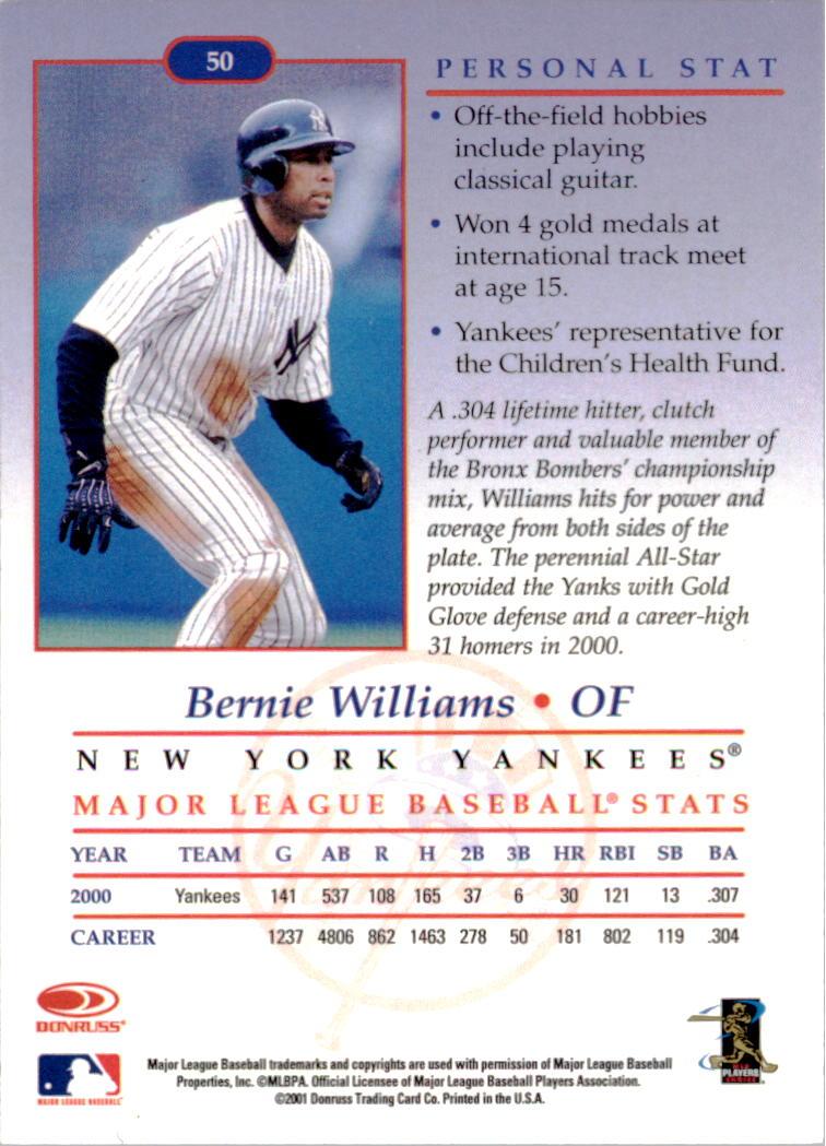 2001-02 Studio Chicago Collection #50 Bernie Williams back image