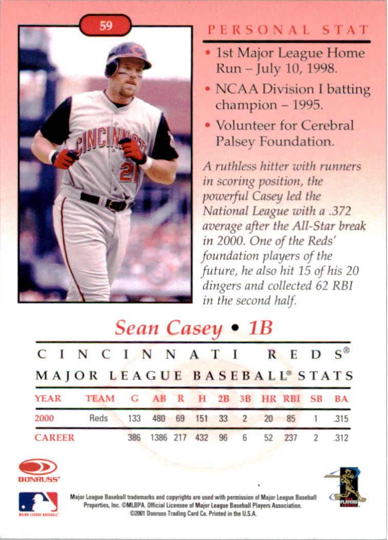 2001-02 Studio Chicago Collection #59 Sean Casey back image
