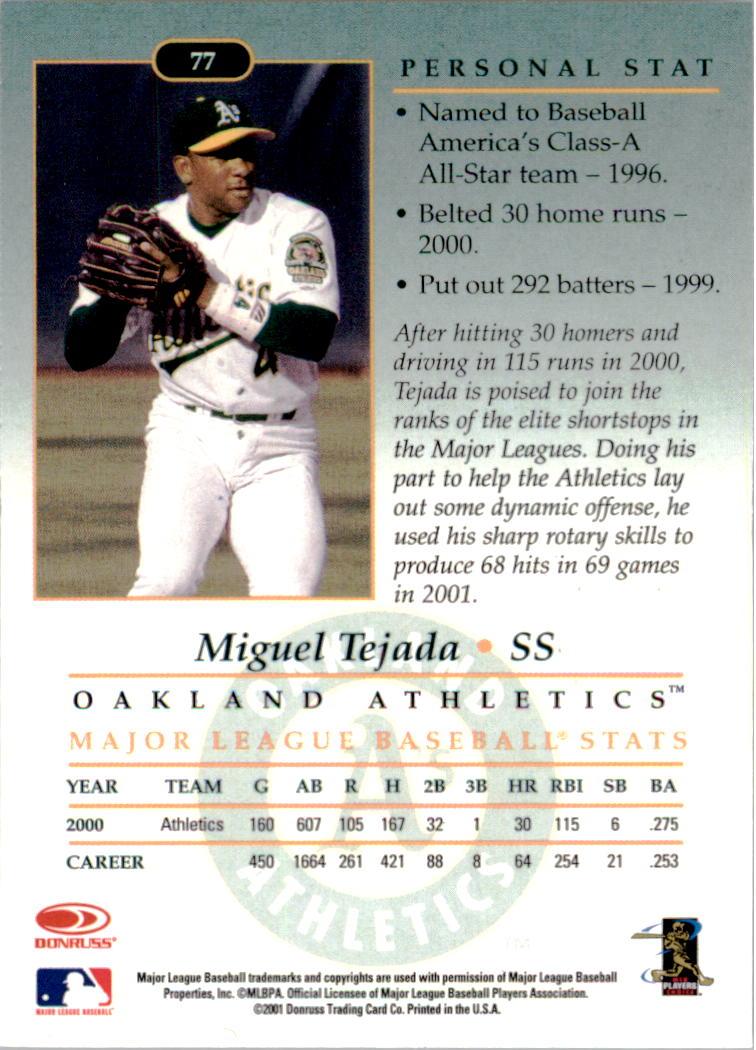2001-02 Studio Chicago Collection #77 Miguel Tejada back image