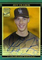 2002 Bowman Chrome Draft Gold Refractors #169 Jeff Francis AU