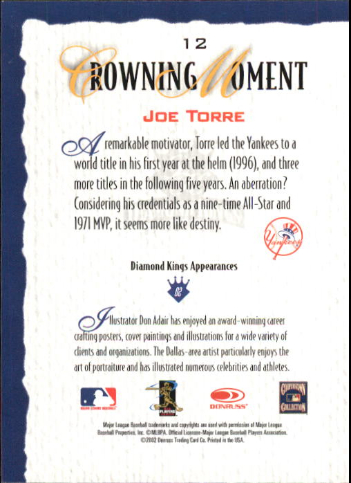 2002 Diamond Kings #12 Joe Torre back image