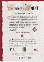 2002 Diamond Kings Silver Foil #112 Mark Teixeira back image