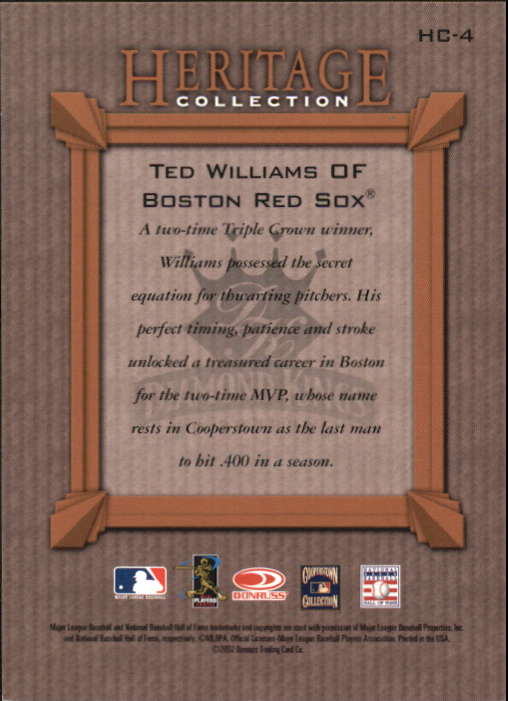 2002 Diamond Kings Heritage Collection #HC4 Ted Williams back image