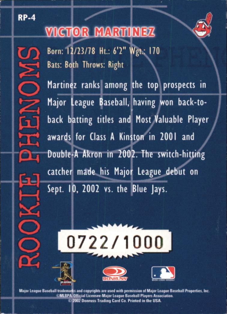 2002 Donruss Rookies Phenoms #4 Victor Martinez back image