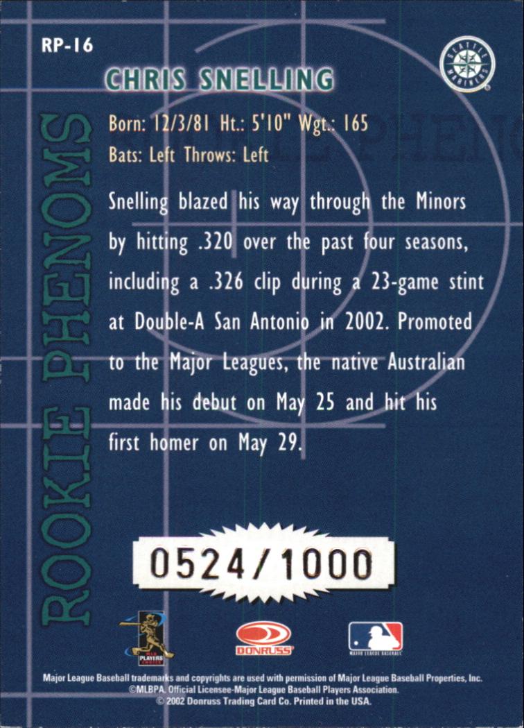 2002 Donruss Rookies Phenoms #16 Chris Snelling back image