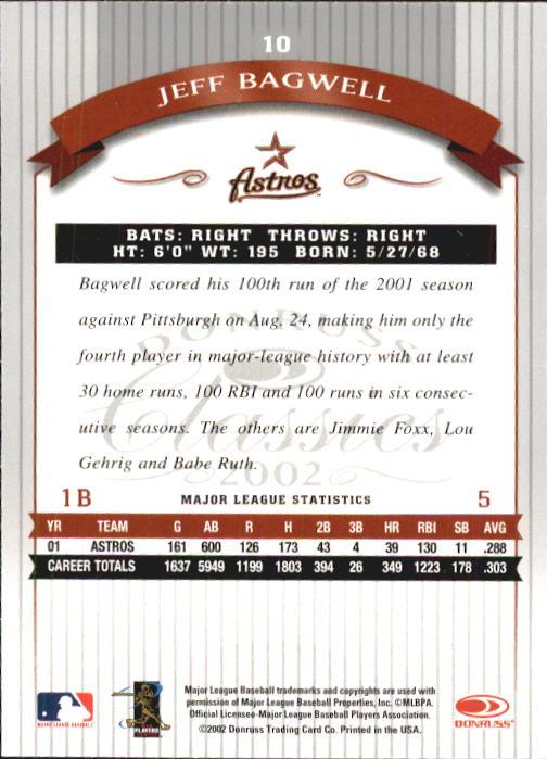 2002 Donruss Classics #10 Jeff Bagwell back image