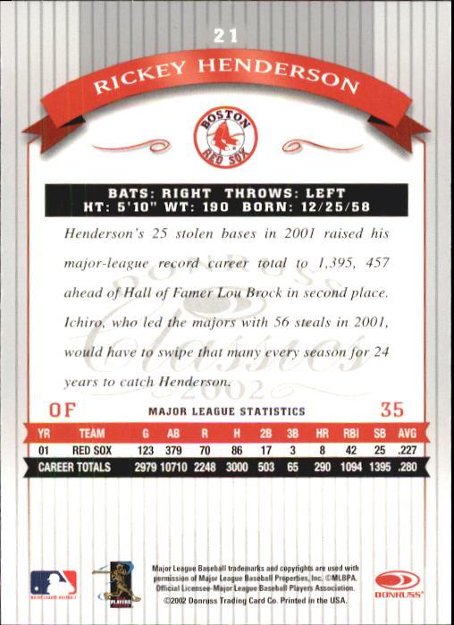 2002 Donruss Classics #21 Rickey Henderson back image