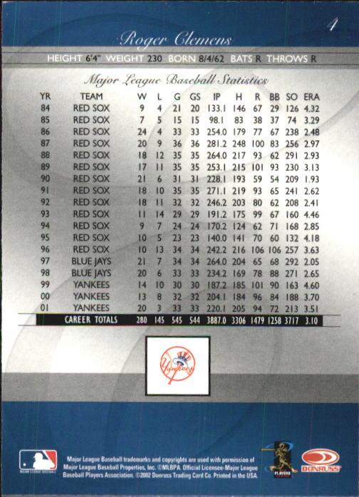 2002 Donruss Elite #4 Roger Clemens back image
