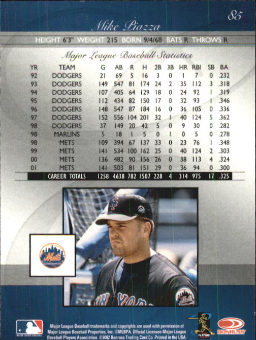 2002 Donruss Elite #85 Mike Piazza back image