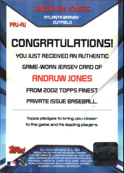 2002 Finest Jersey Relics #FJRAJ Andruw Jones back image