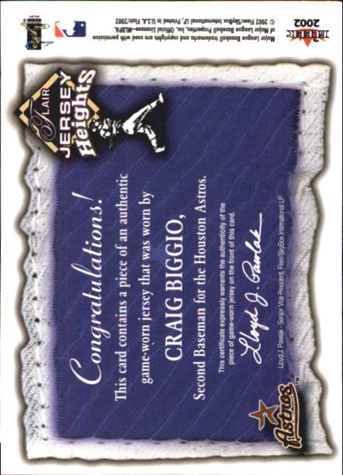 2002 Flair Jersey Heights #3 Craig Biggio back image