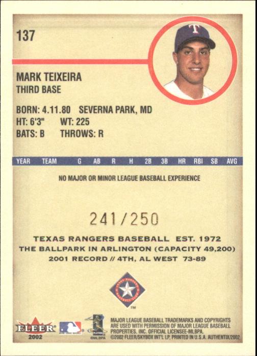 2002 Fleer Authentix Second Row #137 Mark Teixeira FS back image