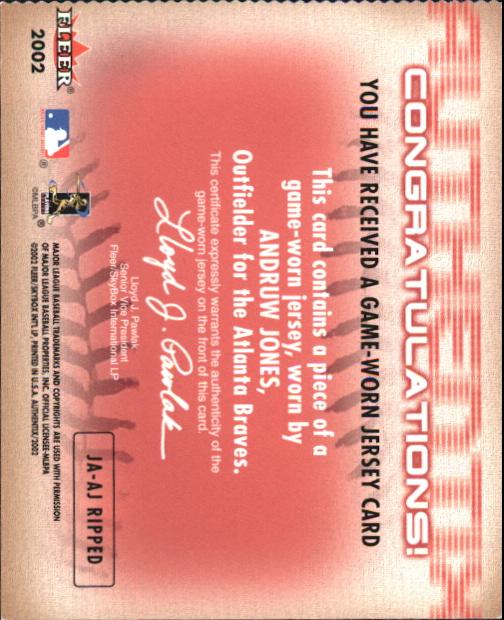2002 Fleer Authentix Jersey AuthenTIX #JAAJ Andruw Jones SP back image