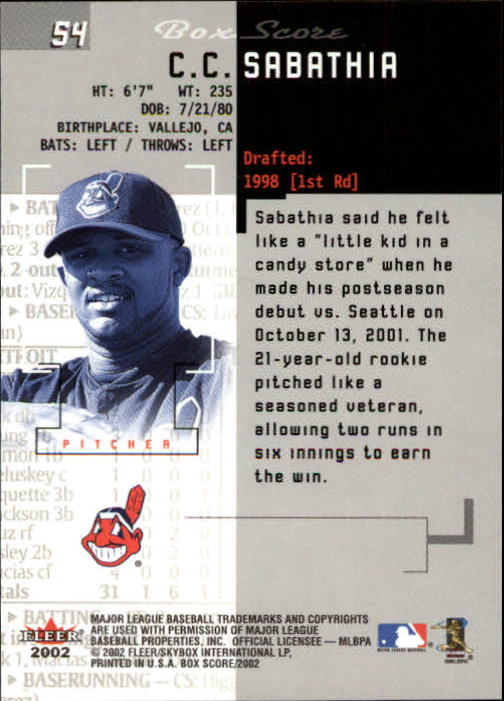 2002 Fleer Box Score #54 C.C. Sabathia back image