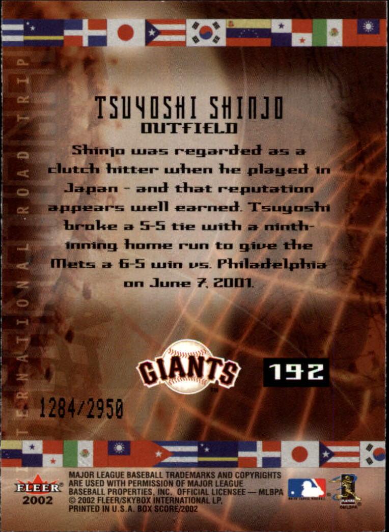 2002 Fleer Box Score #192 Tsuyoshi Shinjo IRT back image