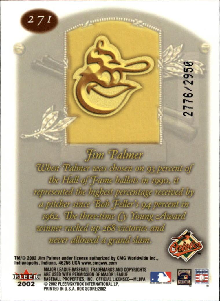 2002 Fleer Box Score #271 Jim Palmer CT back image