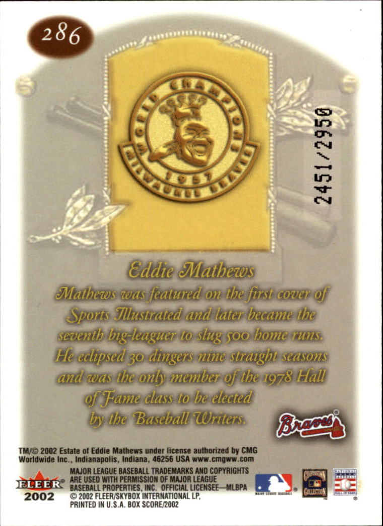 2002 Fleer Box Score #286 Eddie Mathews CT back image