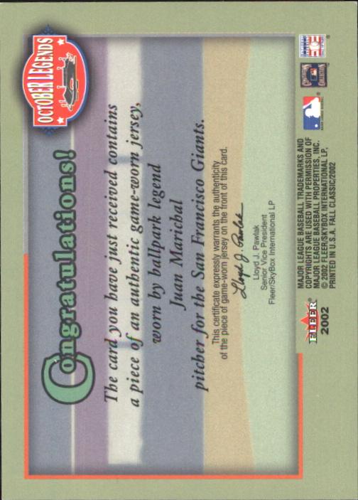 2002 Fleer Fall Classics October Legends Game Used #JMA Juan Marichal Jsy back image