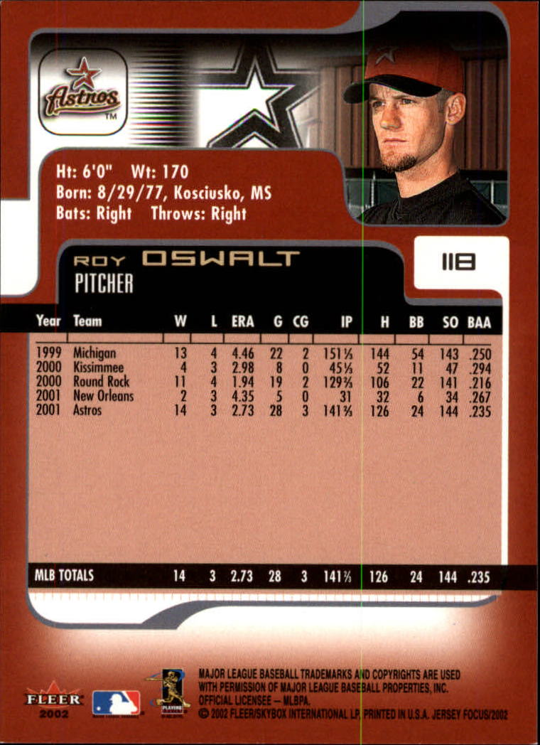 2002 Fleer Focus JE #118 Roy Oswalt back image