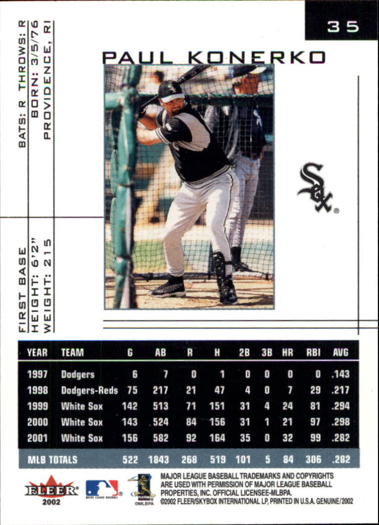 2002 Fleer Genuine #35 Paul Konerko back image