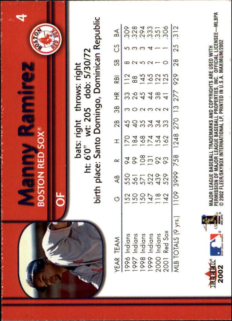 2002 Fleer Maximum #4 Manny Ramirez back image