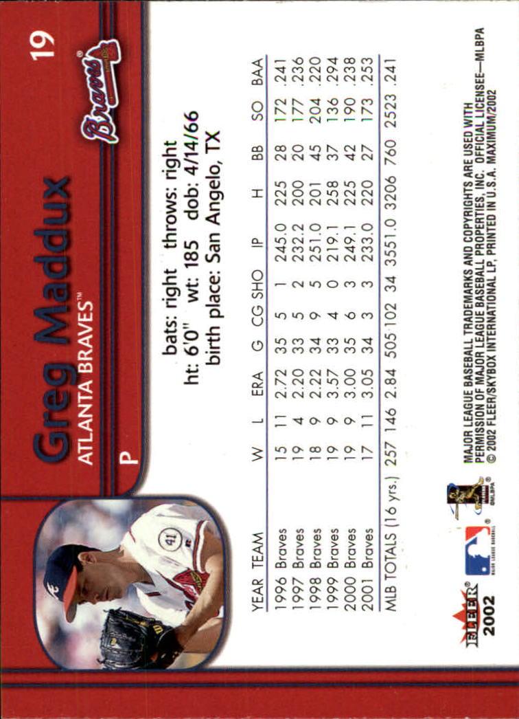 2002 Fleer Maximum #19 Greg Maddux back image